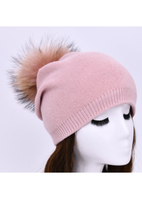 PNYC PNYC Evelyn Beanie Pink with Pink Faux Pom