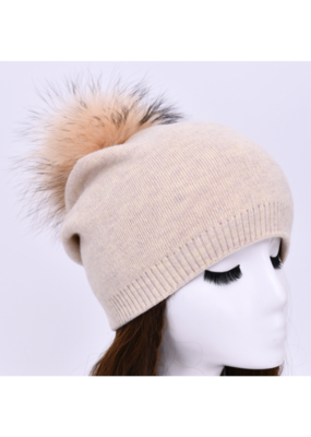 PNYC PNYC Evelyn Beanie Oatmeal with Natural Faux Pom
