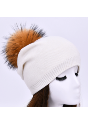 PNYC PNYC Evelyn Beanie Off White with Natural Faux Pom