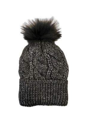 PNYC PNYC Gabby Hat Black with Black Faux Pom