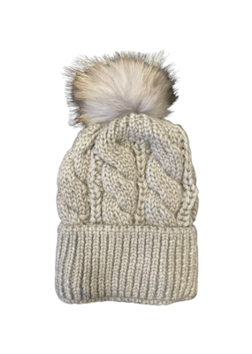 PNYC PNYC Gabby Hat Oatmeal with Natural Faux Pom