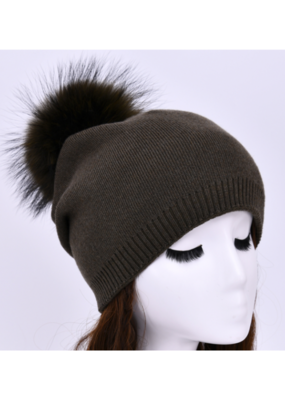 PNYC Evelyn Beanie  Olive with Olive Faux Pom