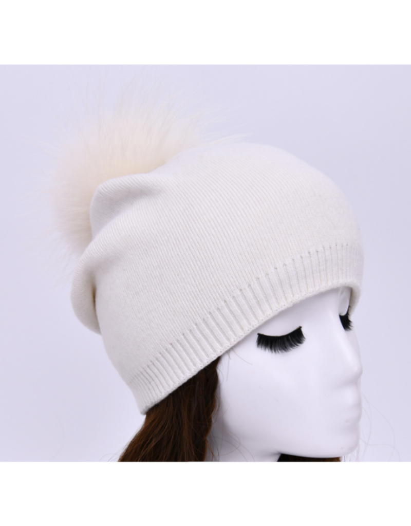 PNYC Evelyn Beanie White with White Faux Pom