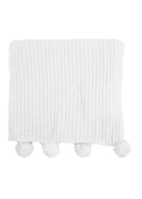 Chenille Pom Pom Blanket in Ivory