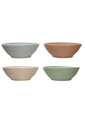 Speckled Matte Stoneware Ribbed Bowl