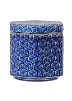 Crackle Glaze Blue Stoneware Jar with Lid