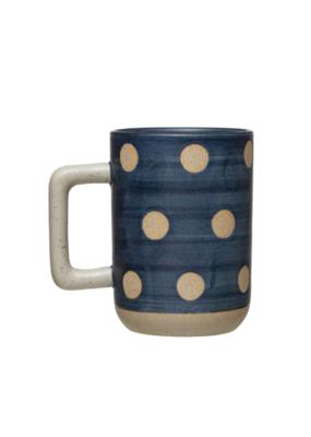 Blue Stoneware Mug with Dots