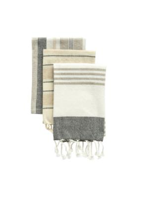 creative brands Striped Tea Towel Set Grey + Ivory