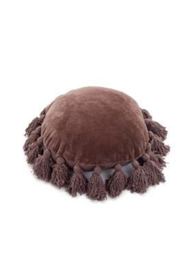 Round Pillow with Velvet Tassel in Plum