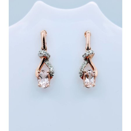 Earrings Morganite and Diamond 14KR 218100182