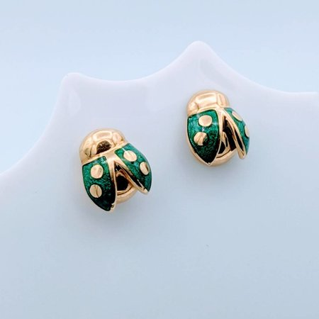 Earrings Lady Bugs Green Enamel 18k 418110058