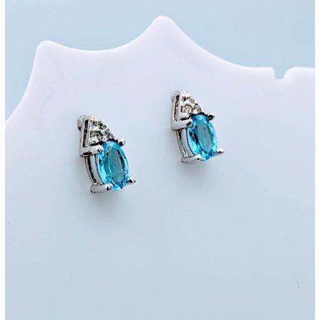 Earrings Topaz Diamond 10k 418110063