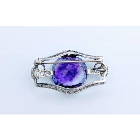 Brooch Amethyst Diamond Platinum
