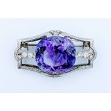 Brooch Amethyst Diamond Platinum