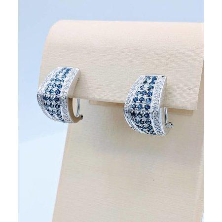 Sapphire & Diamond Lever Stud Earrings 14kw