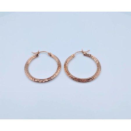 Earrings Textured Hoop 14kr 418110183