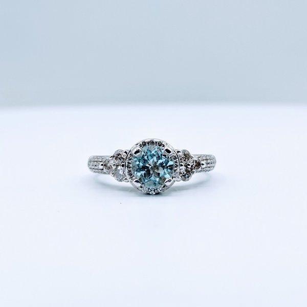 Ring Aqua Dia .50ctw Halo 14kw Sz 5