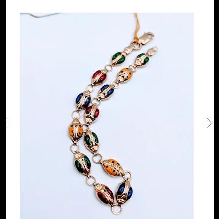 "Bracelet Ladybug Enamel 10ky 7"""