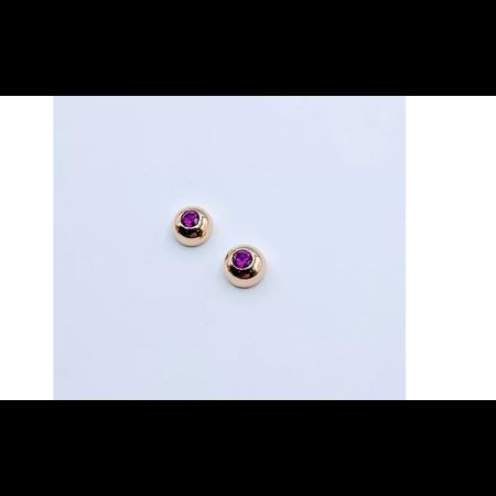 Earrings Ruby Dome Bezel 14ky .40ctw 219050005