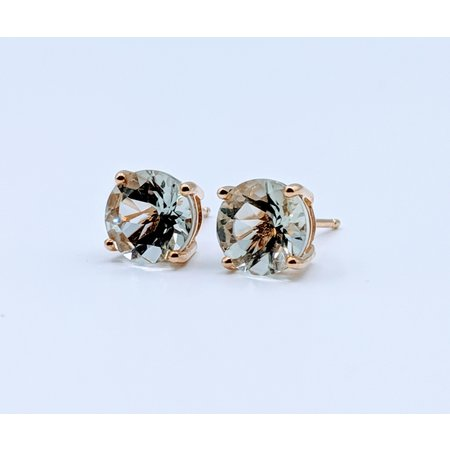 Earrings Green Amethyst 14ky Studs 219060070