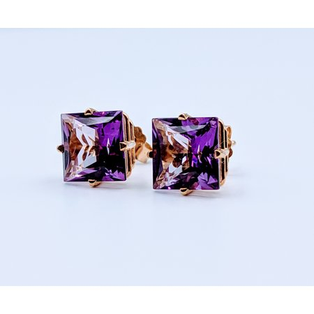 Earrings Amethyst Square Studs 14ky 219060060