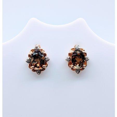 Earrings Quartz Dia Stud 14ky 219060019