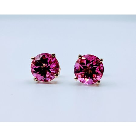 Earrings 8mm Pink Topaz 14ky Studs 219060137