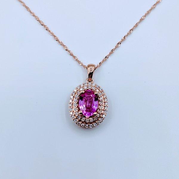 Pendant .22ctw Diamond .98ct Pink Sapphire 14kr