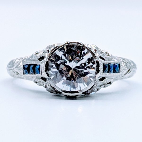 Ring Engagement Antique Diamond & Sapphire Platinum