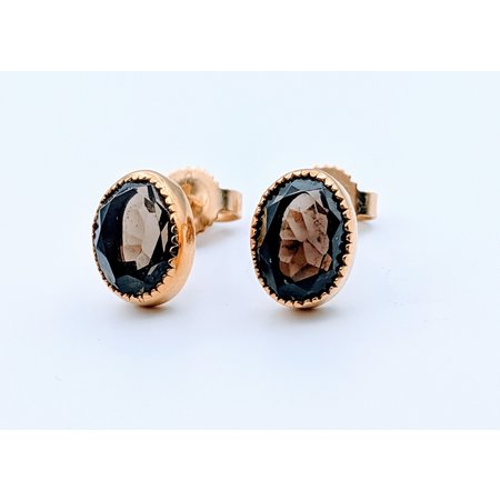 Earrings Smokey Quartz Stud 14ky 219070038