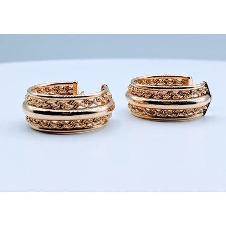 Earrings Plain & Rope Hoop 14ky 419070416