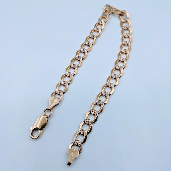 "Bracelet Curb Diamond Cut 14kt Two-Tone 8"" 419070430"