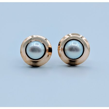 Earrings Pearl Stud 14kw Bezel 419070425
