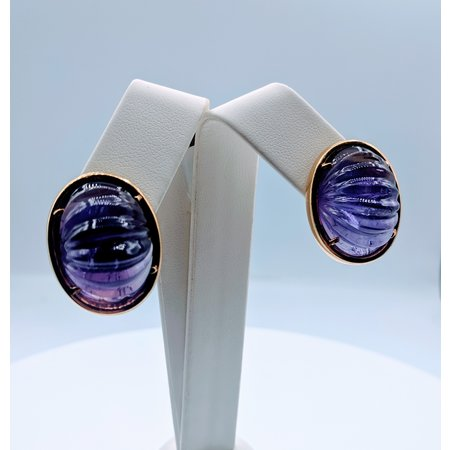 Earrings Large Carved Amethyst 18ky 219080062