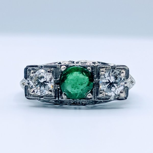 Ring Vintage .65ct Dia 1ct Emerald Sz7.5 18kw 119070061