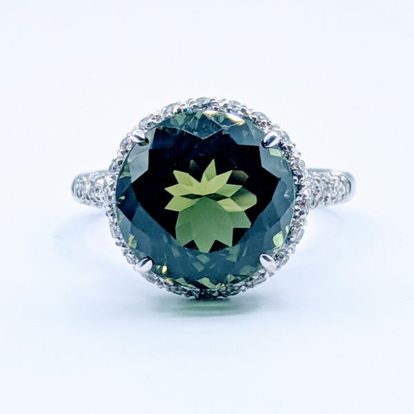 Ring Lombardi Green 7ct Tourmaline .75ctw Diamond 18kw Sz7.5 219030053