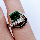 Ring Freeform 1.5ct Emerald Chatham Dia Channel 14ktt Sz7.75 119040025