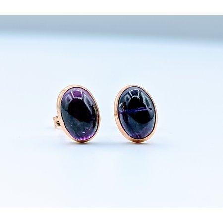 Earrings Amethyst Cabochon 14ky 119110004