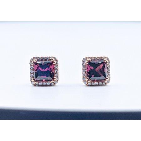 Earrings 14KR .18 DI 2.37 CT RHODOLITE 119110088