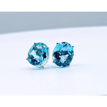 Earrings 14KW 11.80. CT BLUE TOPAZ 121060024