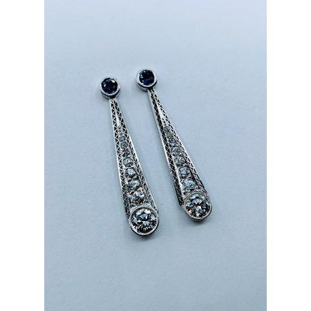 Earrings Vintage Sapphire & Diamond Platinum 119110113