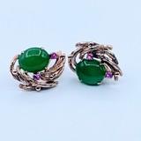 Earrings Jade & Spinel 14ky 219110084