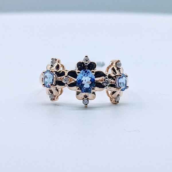 Ring Tanzanite & .08ctw Diamond 10ky Sz8 419110576