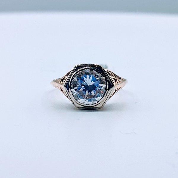 Ring Cubic Zirconia Antique 10ky Sz5.5 419110658