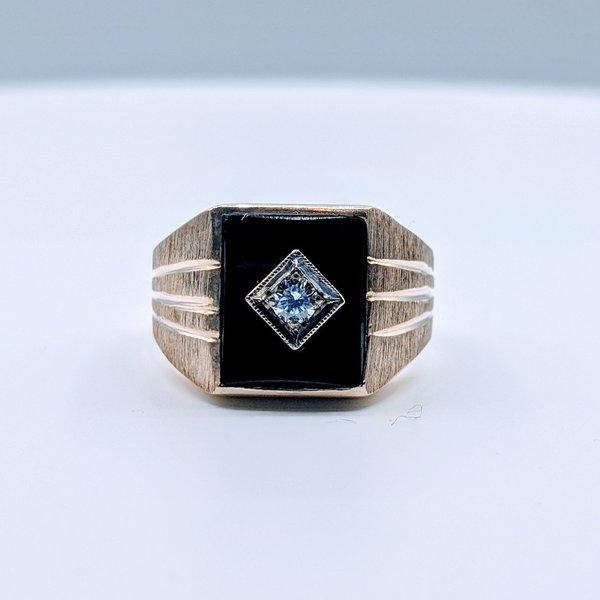 Ring Onyx & .10ct Diamond 10ky Sz9.75 419110574