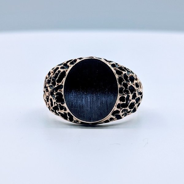 Ring Textured Signet 10ky Sz10 419110590