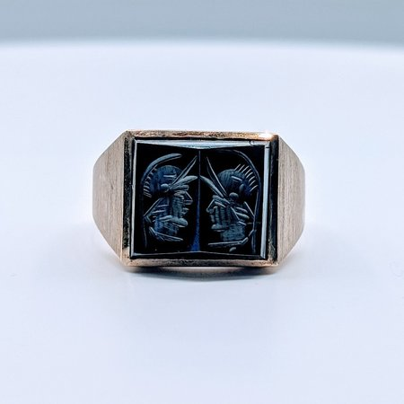 Ring Carved Hematite 10ky Sz10 419110578