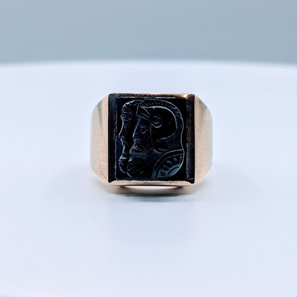 Ring Carved Onyx 10ky Sz9.5 419110588