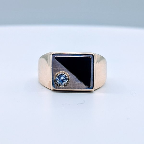Ring Onyx & .20ct Diamond 10ky Sz11.25 419110603