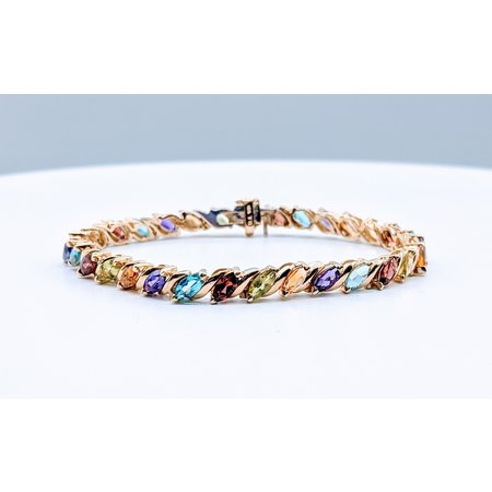 Bracelet 30 Marquise Stones (Peridot, Citrine, Amethyst, Garnet, Blue Topaz) 14ky 4191106786